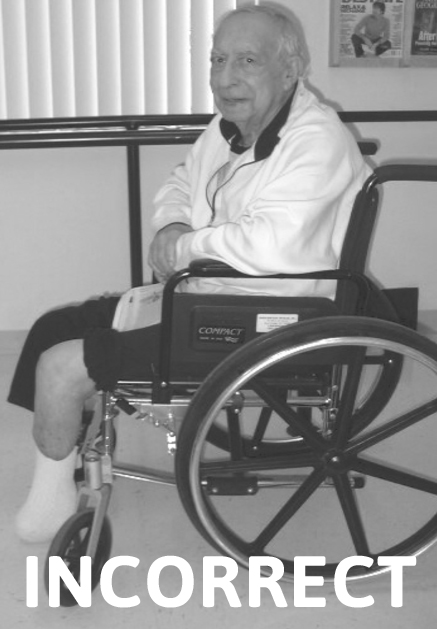 Incorrect Wheelchair Position for Transtibial Patient